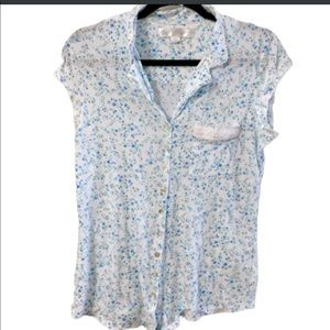 Eileen West BLue Floral Pajama Top